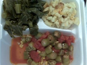 Lunch meeting cancelled: veggie plate from Joel's in a styrofoam box. When they have spinach, it's to-die-for.
