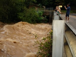Sope Creek at the Paper Mill bridge. That's Ellie