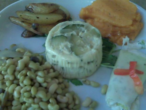 the prettiest and tastiest yet from Watershed: lady peas, fingerling potatoes, sweet potatoes, a leek (I think) with herbed cheese, zucchini flan
