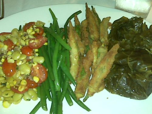 Succotash, green beans, fried okra, collard greens. South City Kitchen, $12.75.